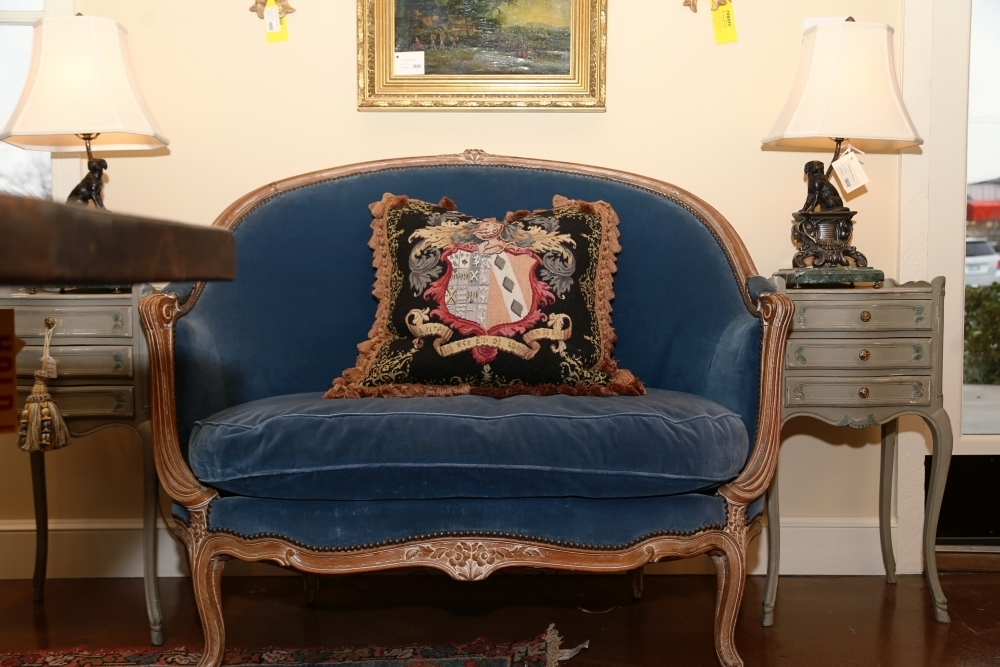 Linda James Antiques Louis XV Blue Velvet Settee