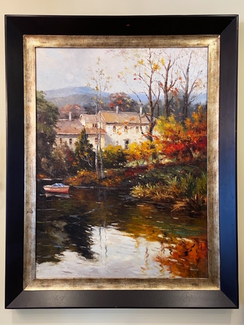 Linda James Antiques Country French Framed Oil Painting Fall Scene