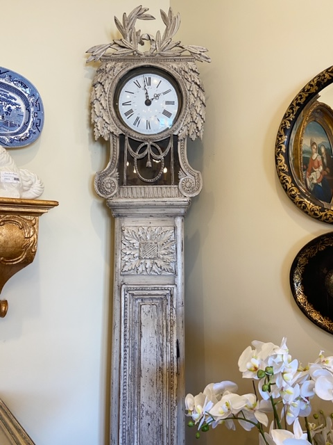Linda James Antiques Country French Carved Grandfather Clock