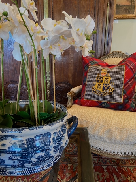 Linda James Antiques Country French Ralph Lauren Decorative Pillow Orchid Flowers in Vase