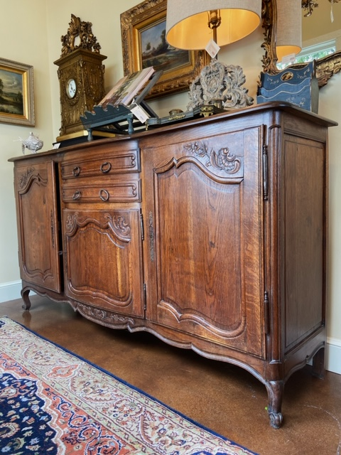 Linda James Antiques Country French Carved Wood Buffet