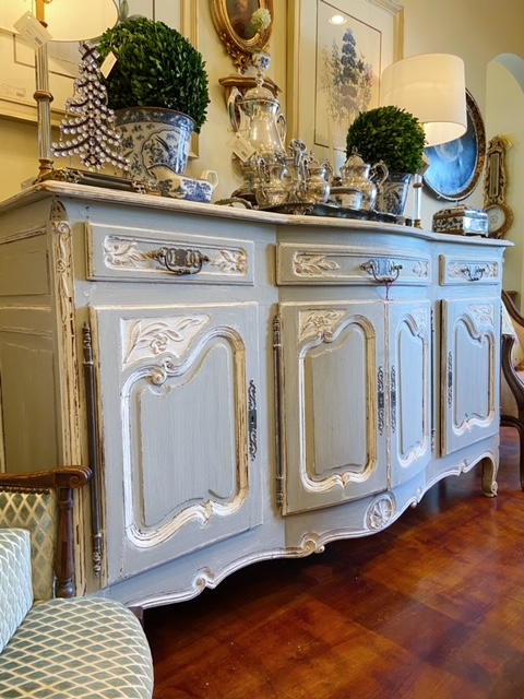 Linda James Antiques Country French Carved Wood Painted Buffet
