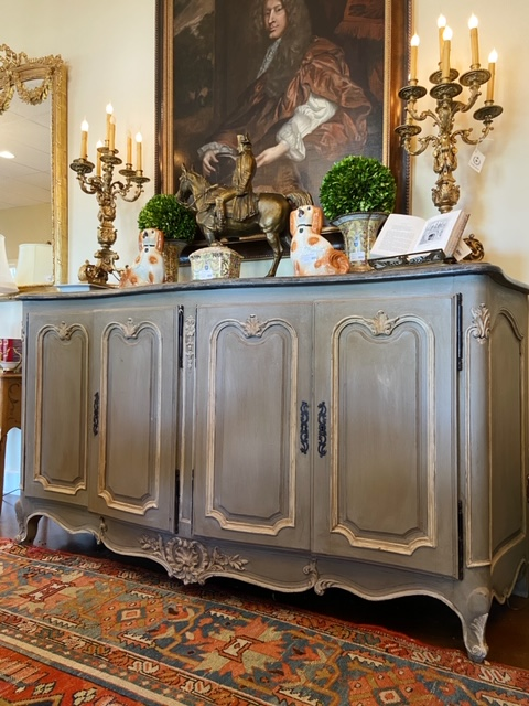 Linda James Antiques Blue French Country Buffet