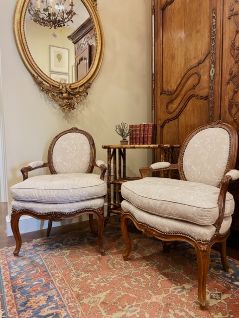 Antique Fauteuil/Pair in Charles Faudree Fabric
