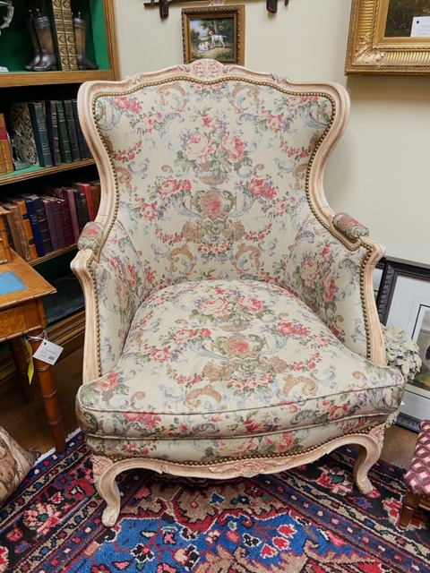 Linda James Antiques French Bergere with Floral Fabric