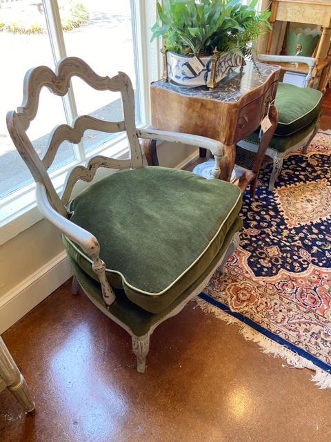 Linda James Antiques French Painted Armchairs